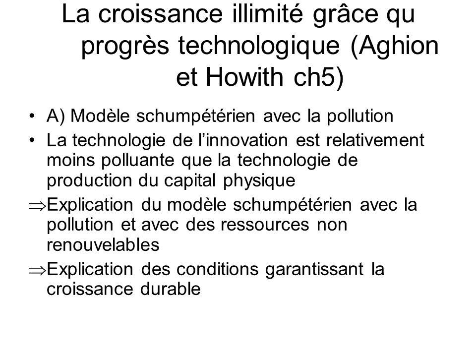 La croissance illimité grâce qu progrès technologique (Aghion et Howith ch5) A) Modèle schumpétérien avec la pollution La technologie de linnovation e