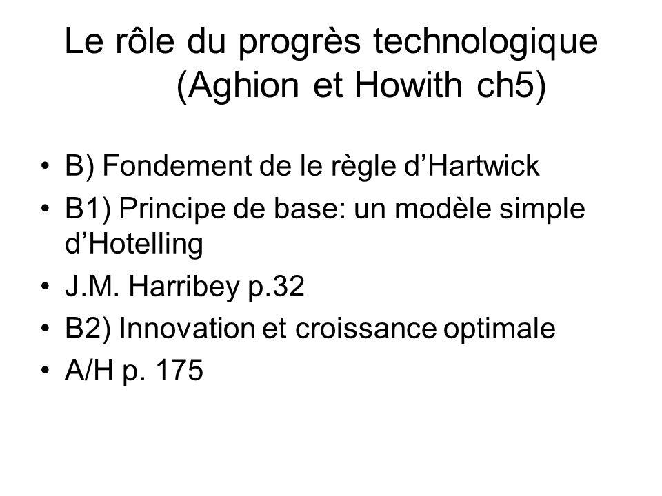 Le rôle du progrès technologique (Aghion et Howith ch5) B) Fondement de le règle dHartwick B1) Principe de base: un modèle simple dHotelling J.M. Harr