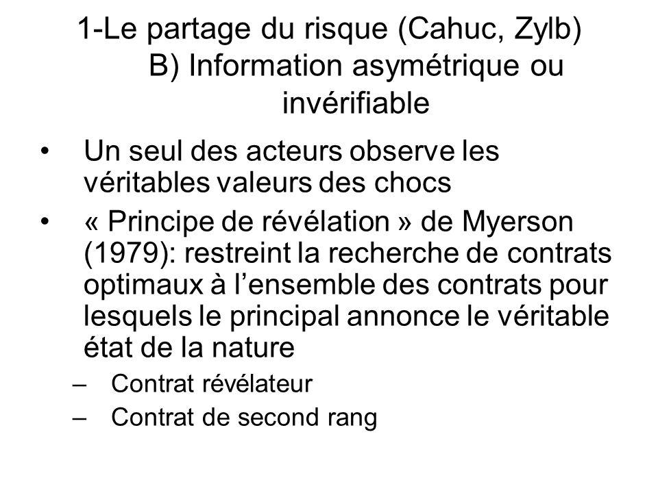 Un seul des acteurs observe les véritables valeurs des chocs « Principe de révélation » de Myerson (1979): restreint la recherche de contrats optimaux