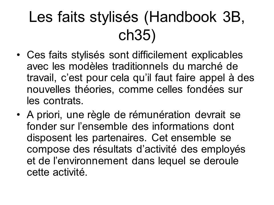 Les faits stylisés (Handbook 3B, ch35) Ces faits stylisés sont difficilement explicables avec les modèles traditionnels du marché de travail, cest pou