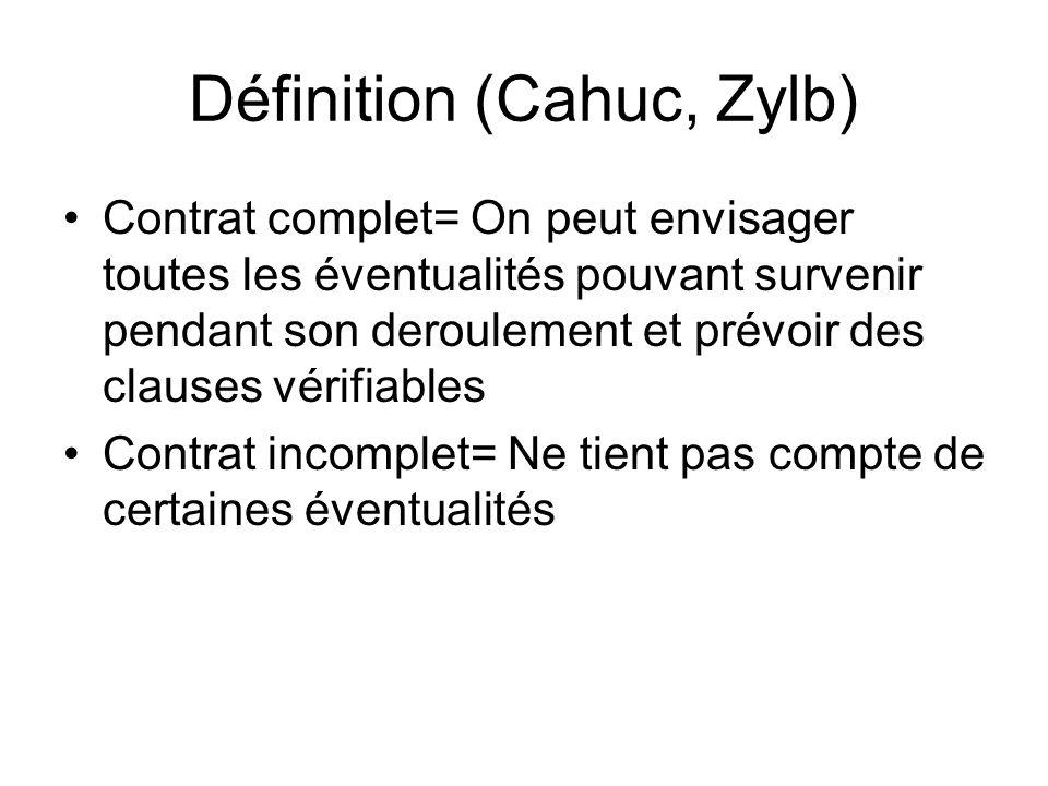 Contrat complet= On peut envisager toutes les éventualités pouvant survenir pendant son deroulement et prévoir des clauses vérifiables Contrat incompl