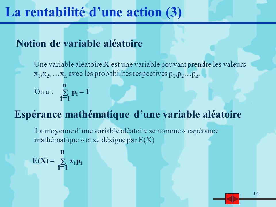 14 Notion de variable aléatoire Une variable aléatoire X est une variable pouvant prendre les valeurs x 1,x 2, …x n avec les probabilités respectives p 1,p 2 …p n.