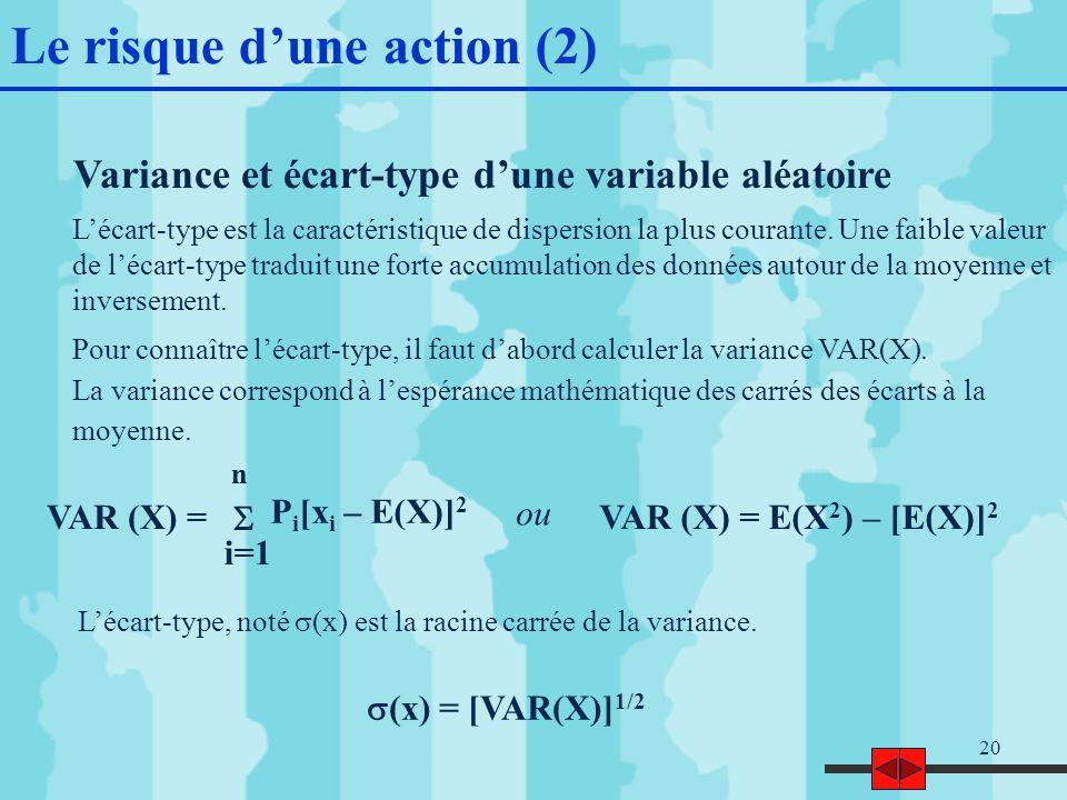 20 Variance et écart-type dune variable aléatoire Lécart-type est la caractéristique de dispersion la plus courante.