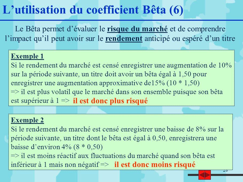 28 Lutilisation du coefficient Bêta (6) Le Bêta permet dévaluer le risque du marché et de comprendre limpact quil peut avoir sur le rendement anticipé ou espéré dun titre Exemple 1 Si le rendement du marché est censé enregistrer une augmentation de 10% sur la période suivante, un titre doit avoir un bêta égal à 1,50 pour enregistrer une augmentation approximative de15% (10 * 1,50) => il est plus volatil que le marché dans son ensemble puisque son bêta est supérieur à 1 => Exemple 2 Si le rendement du marché est censé enregistrer une baisse de 8% sur la période suivante, un titre dont le bêta est égal à 0,50, enregistrera une baisse denviron 4% (8 * 0,50) => il est moins réactif aux fluctuations du marché quand son bêta est inférieur à 1 mais non négatif => il est donc plus risqué il est donc moins risqué