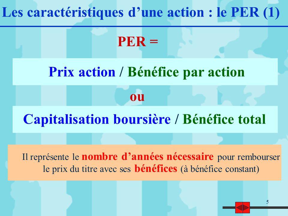 5 Les caractéristiques dune action : le PER (1) Prix action / Bénéfice par action Il représente le nombre dannées nécessaire pour rembourser le prix du titre avec ses bénéfices (à bénéfice constant) Capitalisation boursière / Bénéfice total PER = ou