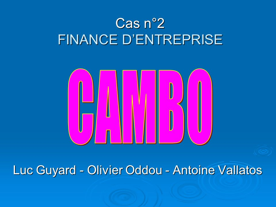 Cas n°2 FINANCE DENTREPRISE Luc Guyard - Olivier Oddou - Antoine Vallatos