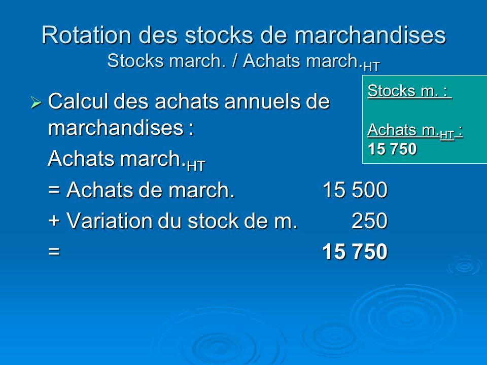 Rotation des stocks de marchandises Stocks march. / Achats march. HT Ce taux na de sens que pour une activité de négoce (achat et revente sans transfo