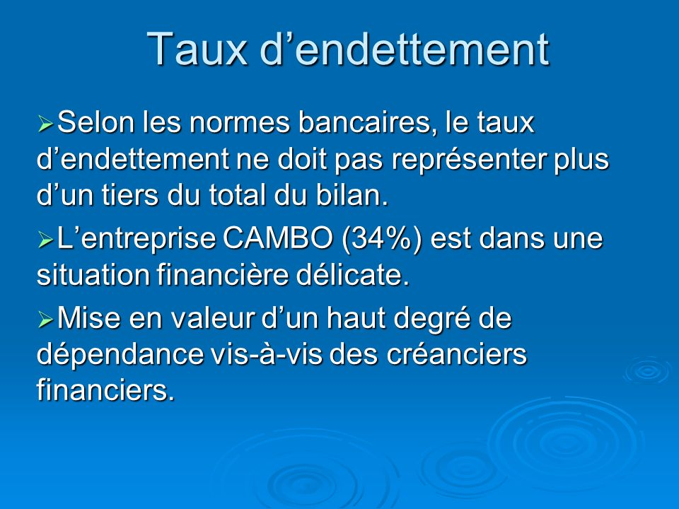 Taux dendettement = Total endettement financier (EENE compris) Actif total (EENE compris) = 5400 + 6000 28120 + 6000 =34% EENE EMPRUNTS Etablissements