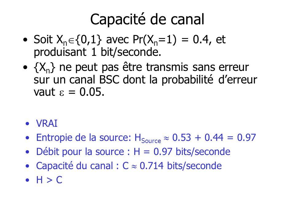 Capacité de canal Soit X n {0,1} avec Pr(X n =1) = 0.4, et produisant 1 bit/seconde.