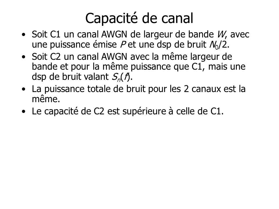 Capacité de canal Soit C1 un canal AWGN de largeur de bande W, avec une puissance émise P et une dsp de bruit N 0 /2.