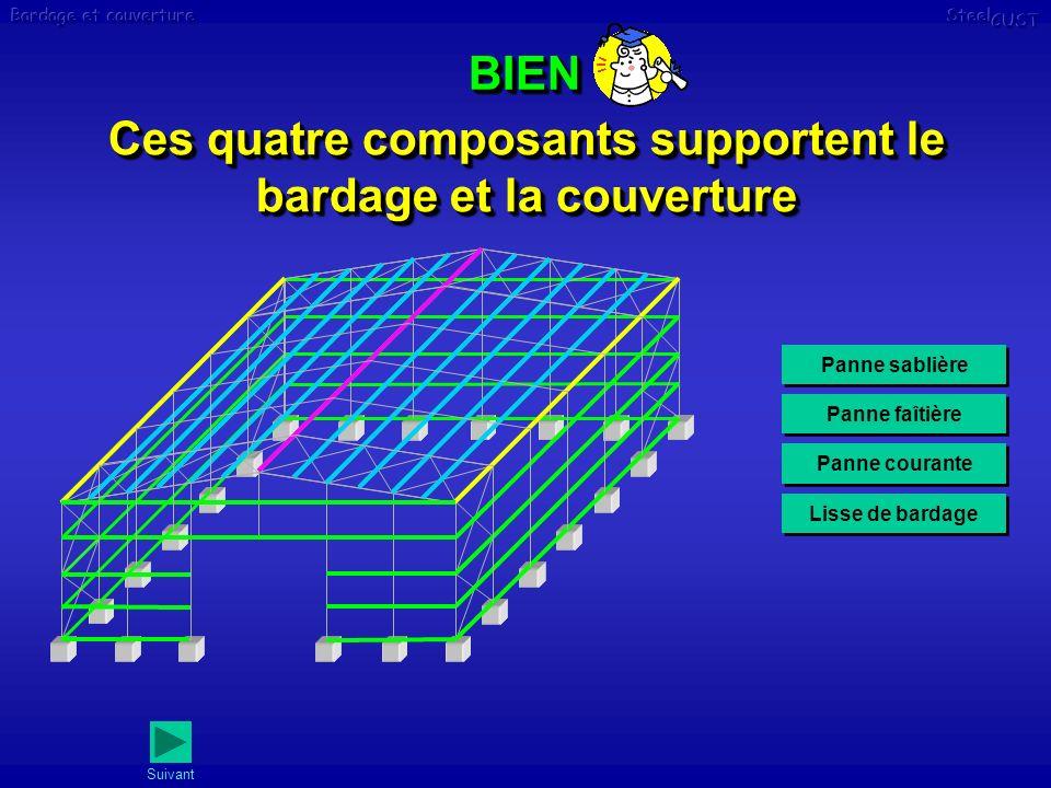 BIENBIEN Ces quatre composants supportent le bardage et la couverture Panne sablière Panne faîtière Panne courante Lisse de bardage Suivant