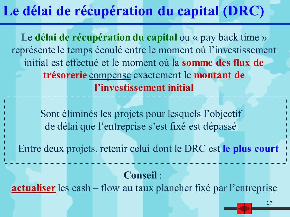18 Le DRC (exercice) 1] Calculer le DRC (flux non actualisés) 2] Calculer le DRC (flux actualisés au taux de 7%) 3] Suivant le critère du DRC, quel est linvestissement à privilégier .