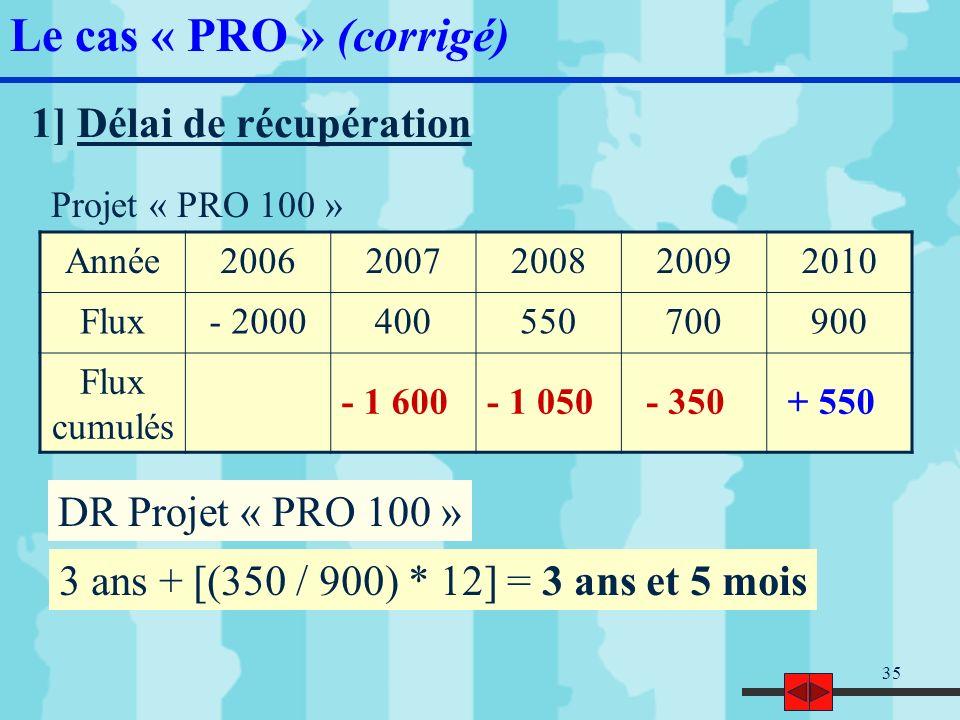 36 2 ans + [(750 / 900) * 12] = 2 ans et 10 mois Projet « PRO 200 » Année20062007200820092010 Flux- 2000600650900700 Flux cumulés - 1 400- 750+ 150+ 850 DR Projet « PRO 200 » Le cas « PRO » (corrigé)