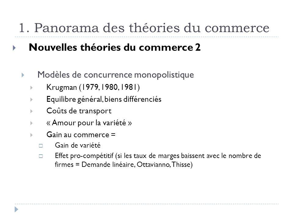 1. Panorama des théories du commerce Nouvelles théories du commerce 2 Modèles de concurrence monopolistique Krugman (1979, 1980, 1981) Equilibre génér