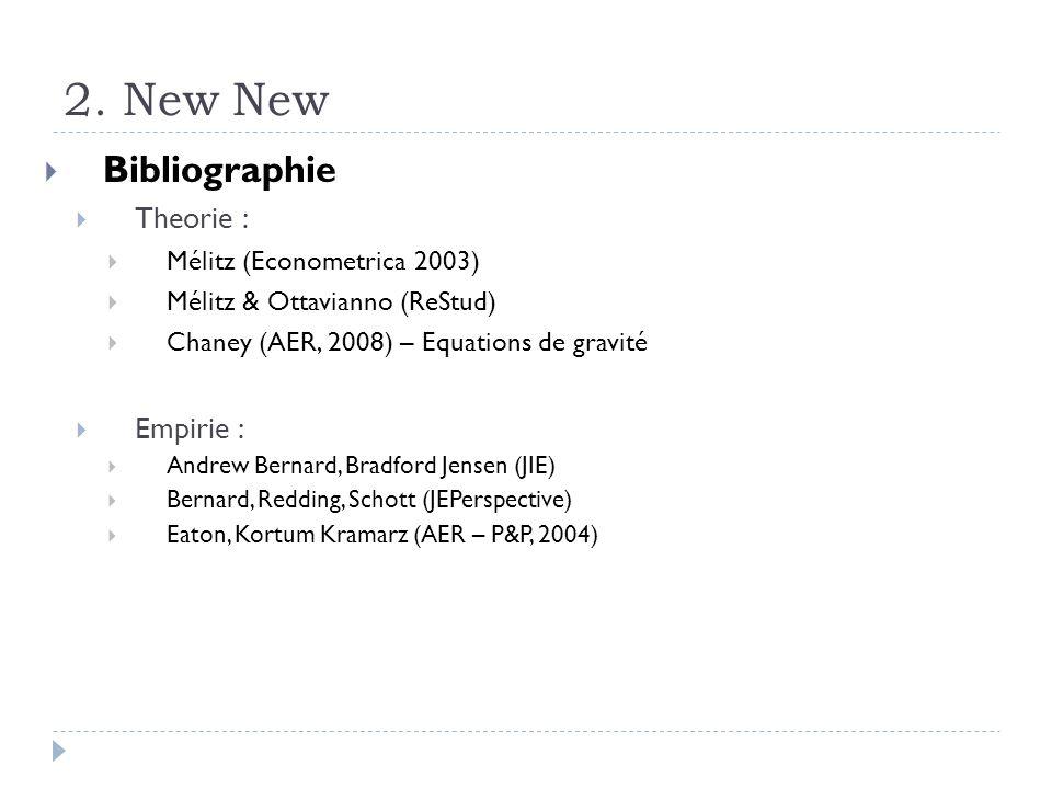 2. New New Bibliographie Theorie : Mélitz (Econometrica 2003) Mélitz & Ottavianno (ReStud) Chaney (AER, 2008) – Equations de gravité Empirie : Andrew