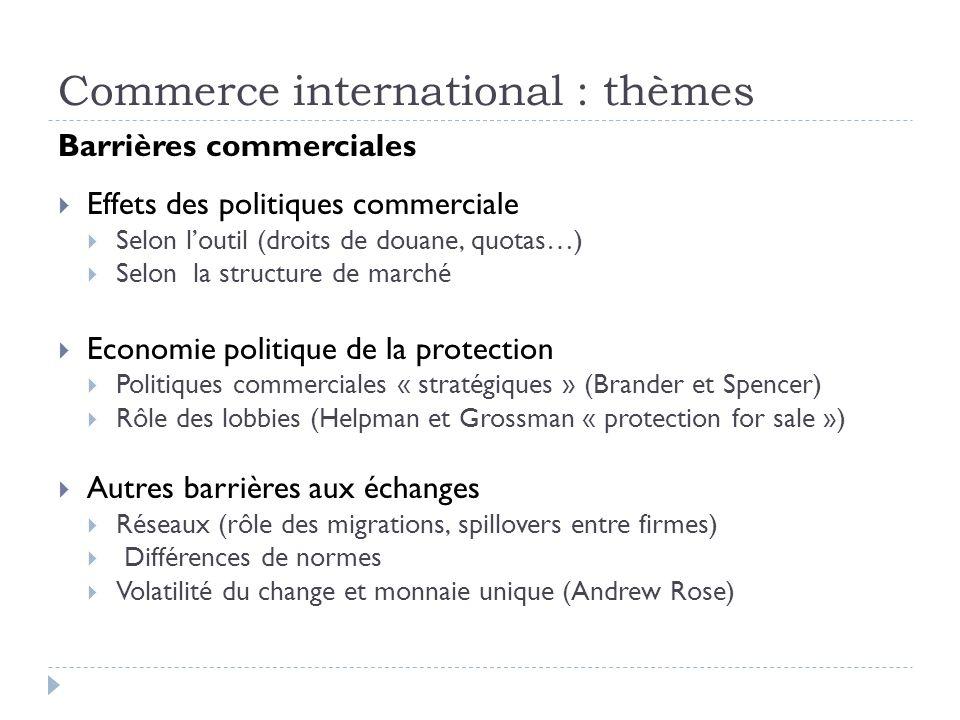 Commerce international : thèmes Barrières commerciales Effets des politiques commerciale Selon loutil (droits de douane, quotas…) Selon la structure d