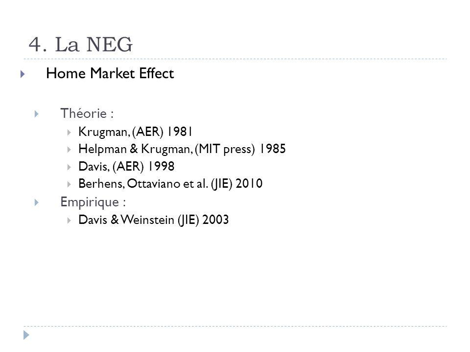 4. La NEG Home Market Effect Théorie : Krugman, (AER) 1981 Helpman & Krugman, (MIT press) 1985 Davis, (AER) 1998 Berhens, Ottaviano et al. (JIE) 2010