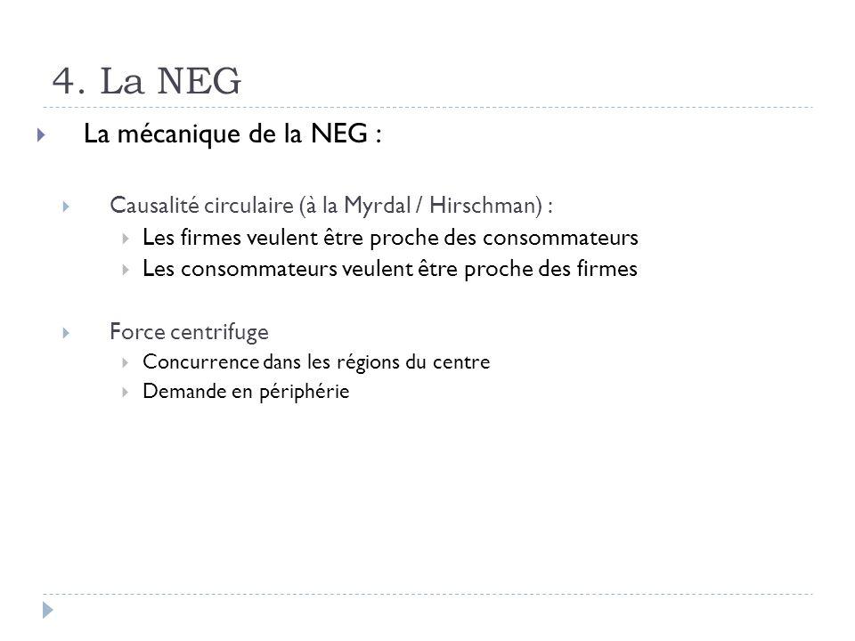 4. La NEG La mécanique de la NEG : Causalité circulaire (à la Myrdal / Hirschman) : Les firmes veulent être proche des consommateurs Les consommateurs