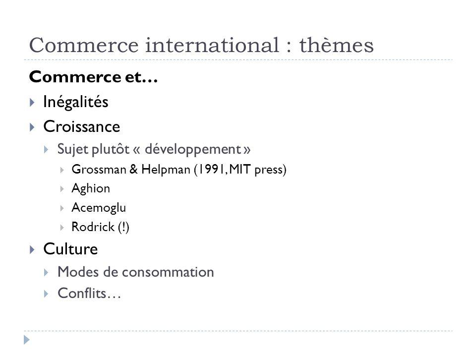 Commerce international : thèmes Commerce et… Inégalités Croissance Sujet plutôt « développement » Grossman & Helpman (1991, MIT press) Aghion Acemoglu