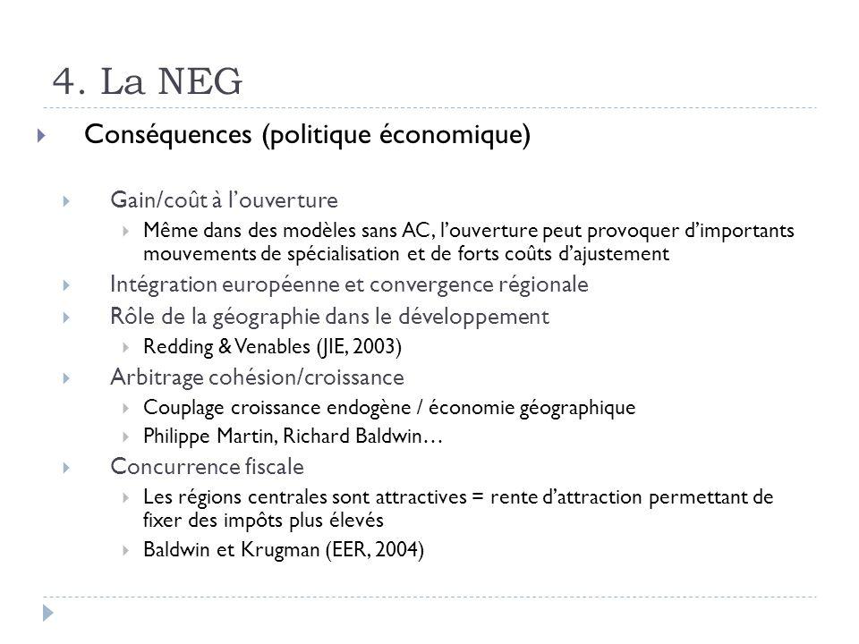 4. La NEG Conséquences (politique économique) Gain/coût à louverture Même dans des modèles sans AC, louverture peut provoquer dimportants mouvements d