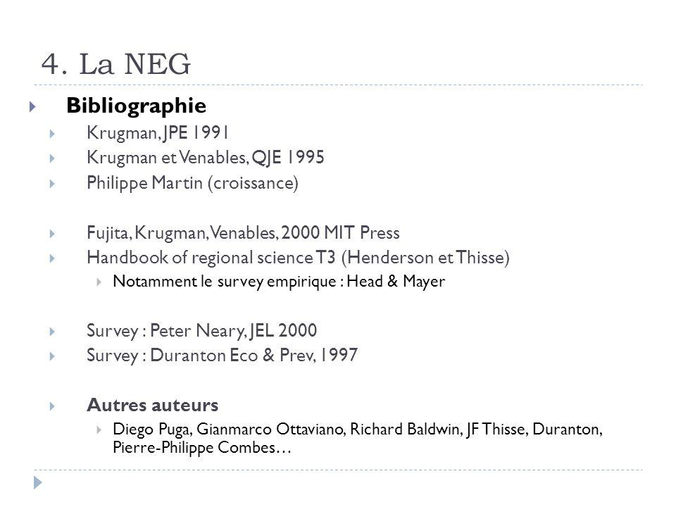 4. La NEG Bibliographie Krugman, JPE 1991 Krugman et Venables, QJE 1995 Philippe Martin (croissance) Fujita, Krugman, Venables, 2000 MIT Press Handboo