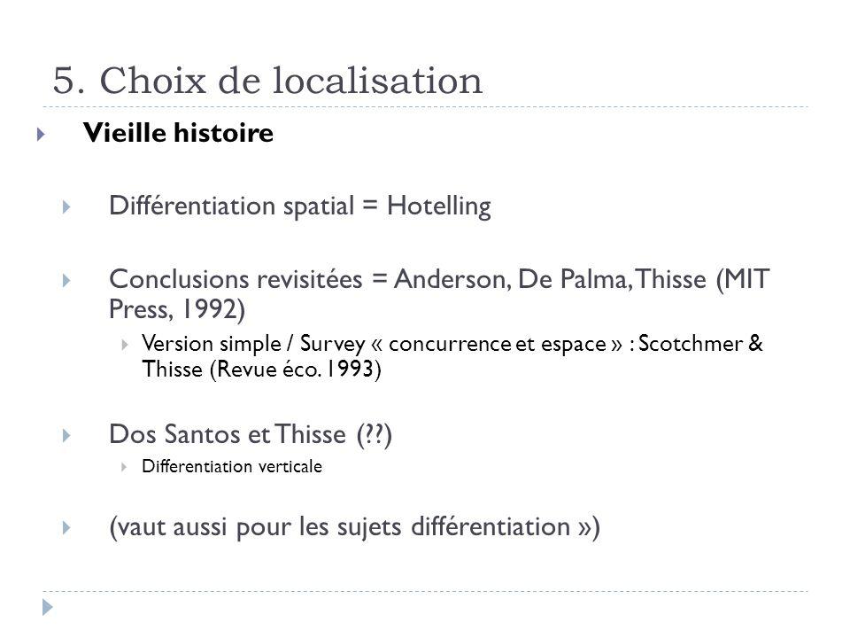 5. Choix de localisation Vieille histoire Différentiation spatial = Hotelling Conclusions revisitées = Anderson, De Palma, Thisse (MIT Press, 1992) Ve