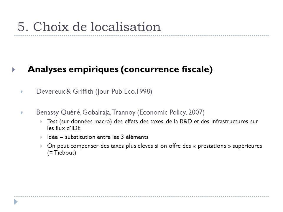 5. Choix de localisation Analyses empiriques (concurrence fiscale) Devereux & Griffith (Jour Pub Eco,1998) Benassy Quéré, Gobalraja, Trannoy (Economic