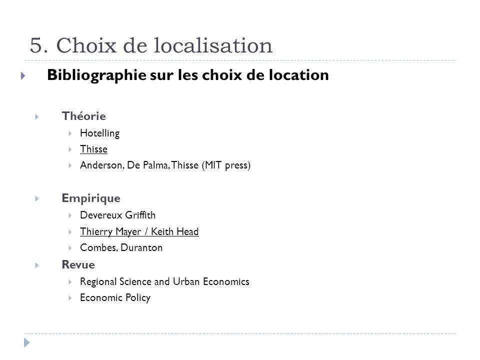 5. Choix de localisation Bibliographie sur les choix de location Théorie Hotelling Thisse Anderson, De Palma, Thisse (MIT press) Empirique Devereux Gr