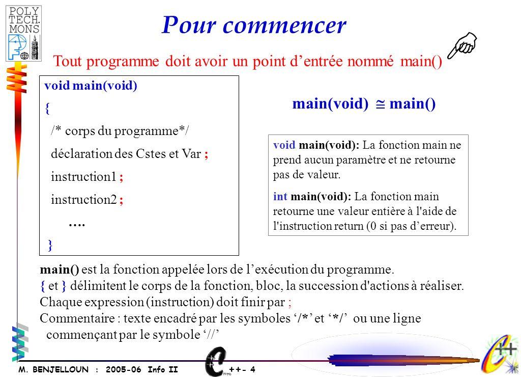 ++ - 3 M. BENJELLOUN : 2005-06 Info II Les autres types seront dérivés de ceux-ci.