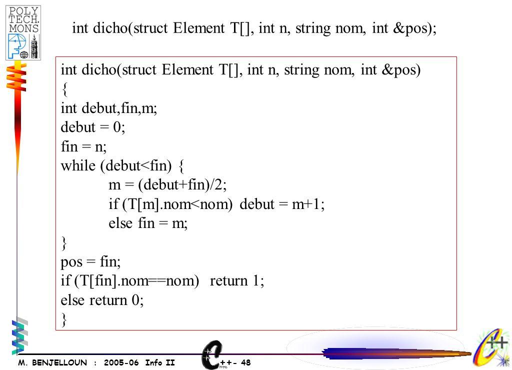++ - 47 M. BENJELLOUN : 2005-06 Info II 135789 -7 Recherche dichotomique Et pos N--
