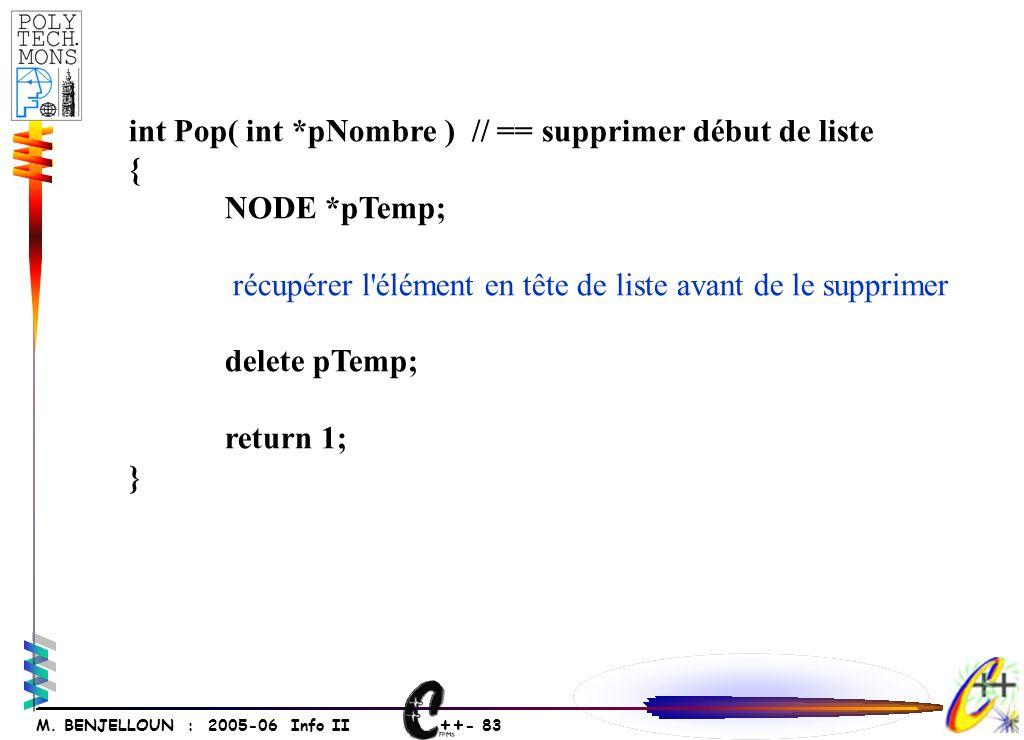 ++ - 82 M. BENJELLOUN : 2005-06 Info II Simulation de la factorielle 4.