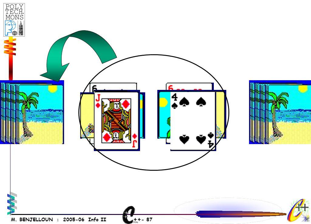 ++ - 86 M. BENJELLOUN : 2005-06 Info II Jeu de 52 cartes (4 couleurs et 13 puissances).