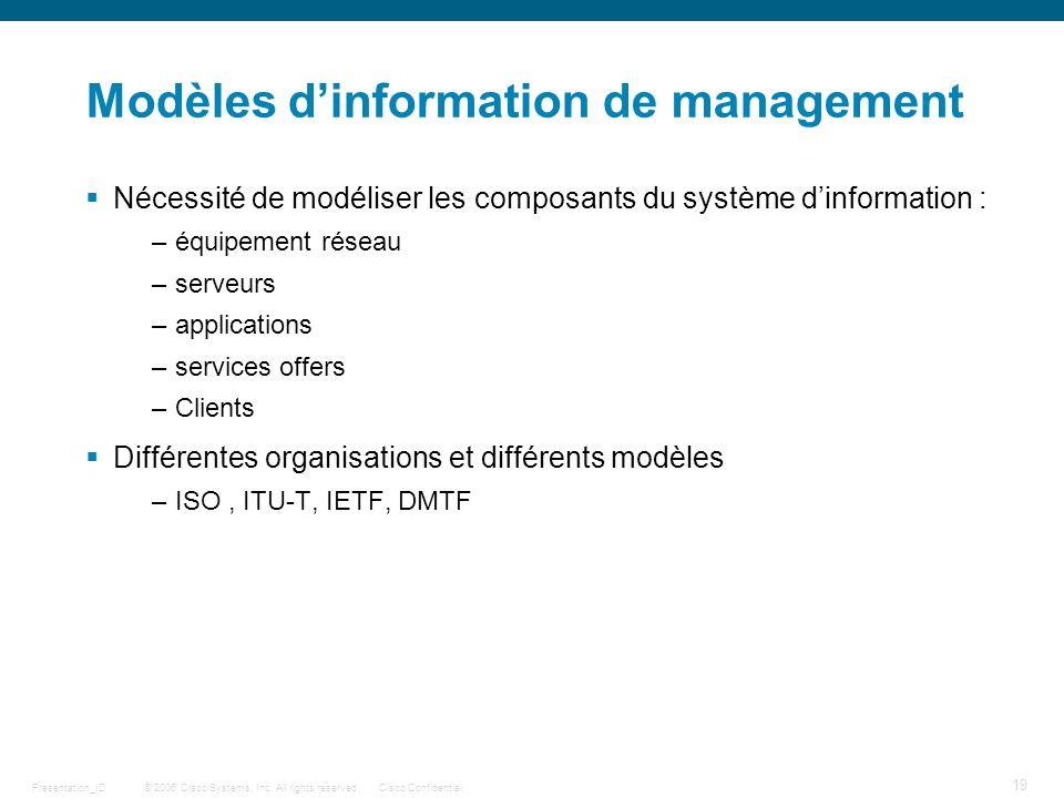 © 2006 Cisco Systems, Inc. All rights reserved.Cisco ConfidentialPresentation_ID 19 Modèles dinformation de management Nécessité de modéliser les comp