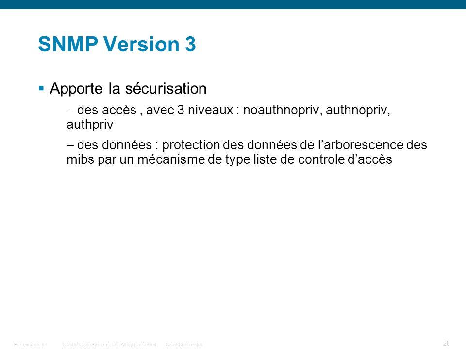 © 2006 Cisco Systems, Inc. All rights reserved.Cisco ConfidentialPresentation_ID 28 SNMP Version 3 Apporte la sécurisation – des accès, avec 3 niveaux