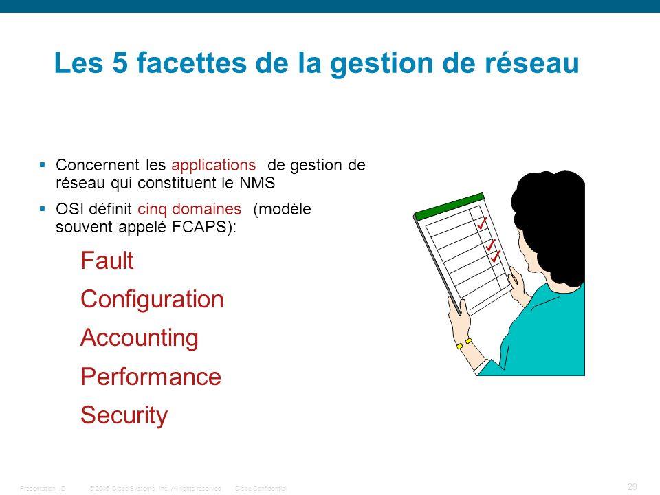 © 2006 Cisco Systems, Inc. All rights reserved.Cisco ConfidentialPresentation_ID 29 Les 5 facettes de la gestion de réseau Concernent les applications