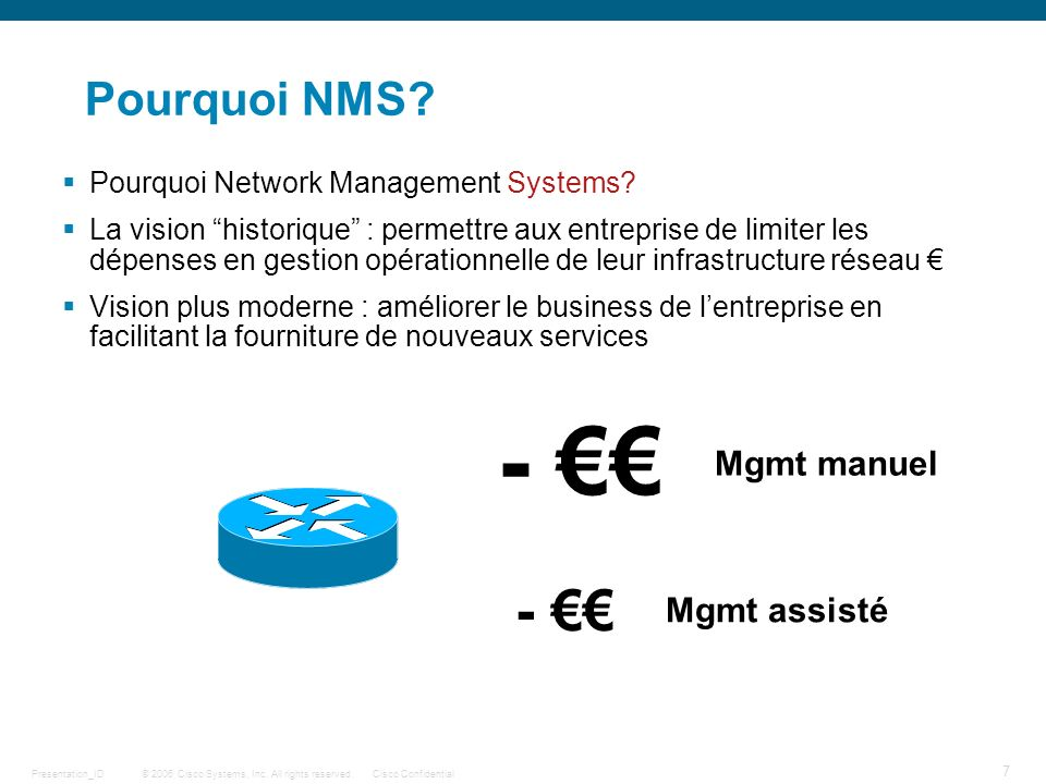 © 2006 Cisco Systems, Inc. All rights reserved.Cisco ConfidentialPresentation_ID 7 Pourquoi NMS? Pourquoi Network Management Systems? La vision histor