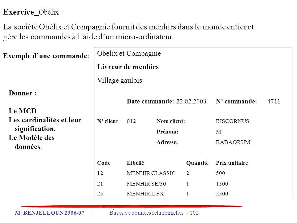 M. BENJELLOUN 2006-07 Bases de données relationnelles - 102 Exercice _ Obélix La société Obélix et Compagnie fournit des menhirs dans le monde entier