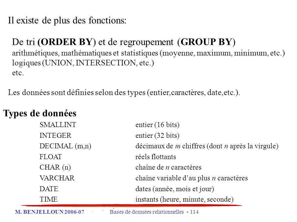 M. BENJELLOUN 2006-07 Bases de données relationnelles - 114 Il existe de plus des fonctions: De tri (ORDER BY) et de regroupement (GROUP BY) arithméti