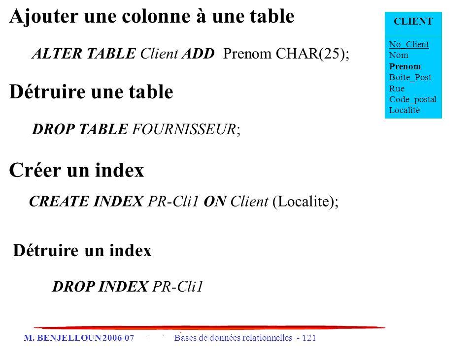 M. BENJELLOUN 2006-07 Bases de données relationnelles - 121 Ajouter une colonne à une table ALTER TABLE Client ADD Prenom CHAR(25); Détruire une table
