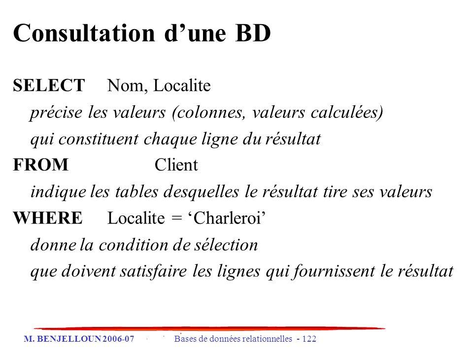 M. BENJELLOUN 2006-07 Bases de données relationnelles - 122 Consultation dune BD SELECTNom, Localite précise les valeurs (colonnes, valeurs calculées)