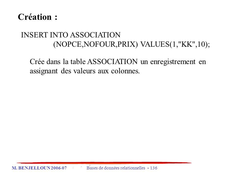 M. BENJELLOUN 2006-07 Bases de données relationnelles - 136 Création : INSERT INTO ASSOCIATION (NOPCE,NOFOUR,PRIX) VALUES(1,