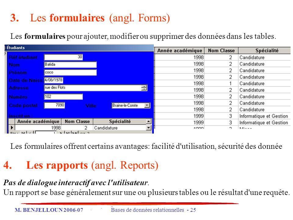 M. BENJELLOUN 2006-07 Bases de données relationnelles - 25 3. Les formulaires (angl. Forms) Les formulaires pour ajouter, modifier ou supprimer des do