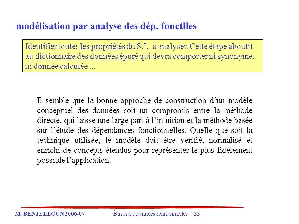 M. BENJELLOUN 2006-07 Bases de données relationnelles - 33 Il semble que la bonne approche de construction dun modèle conceptuel des données soit un c