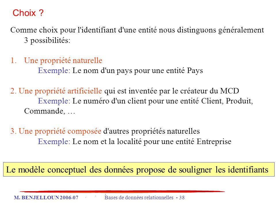 M. BENJELLOUN 2006-07 Bases de données relationnelles - 38 Choix ? Comme choix pour l'identifiant d'une entité nous distinguons généralement 3 possibi