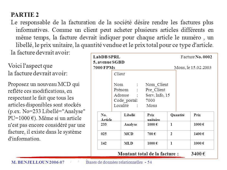 M. BENJELLOUN 2006-07 Bases de données relationnelles - 54 PARTIE 2 Le responsable de la facturation de la société désire rendre les factures plus inf