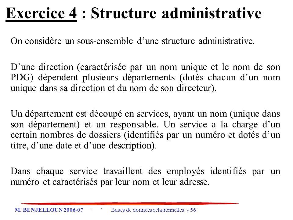 M. BENJELLOUN 2006-07 Bases de données relationnelles - 56 Exercice 4 : Structure administrative On considère un sous-ensemble dune structure administ