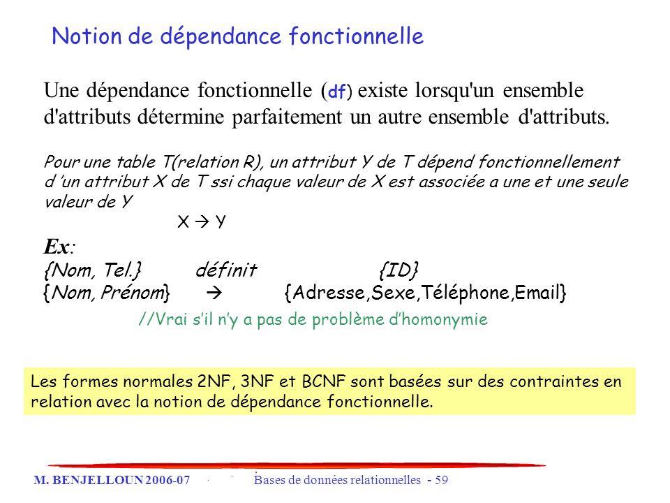 M. BENJELLOUN 2006-07 Bases de données relationnelles - 59 Une dépendance fonctionnelle ( df) existe lorsqu'un ensemble d'attributs détermine parfaite