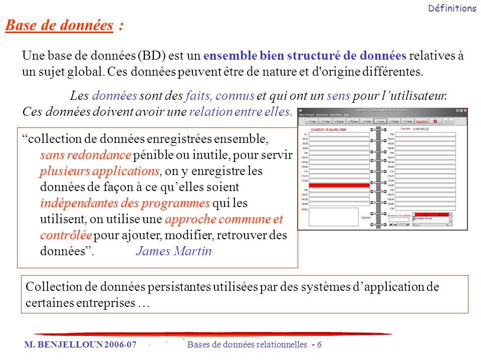 M. BENJELLOUN 2006-07 Bases de données relationnelles - 6 Base de données : Une base de données (BD) est un ensemble bien structuré de données relativ