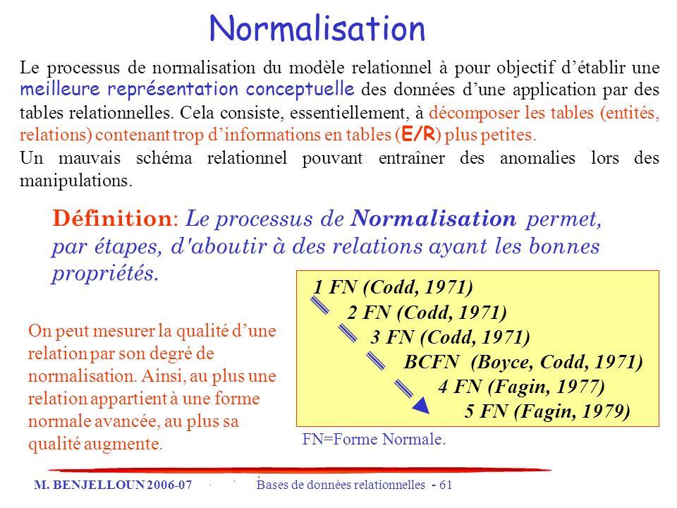 M. BENJELLOUN 2006-07 Bases de données relationnelles - 61 Normalisation Le processus de normalisation du modèle relationnel à pour objectif détablir