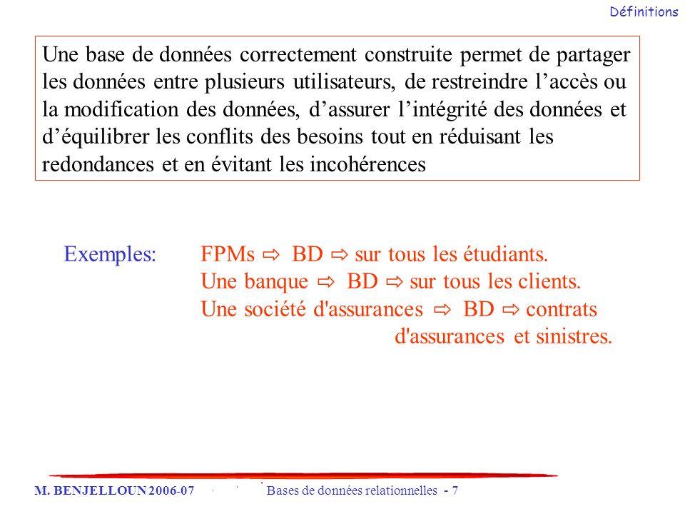 M. BENJELLOUN 2006-07 Bases de données relationnelles - 7 Exemples: FPMs BD sur tous les étudiants. Une banque BD sur tous les clients. Une société d'